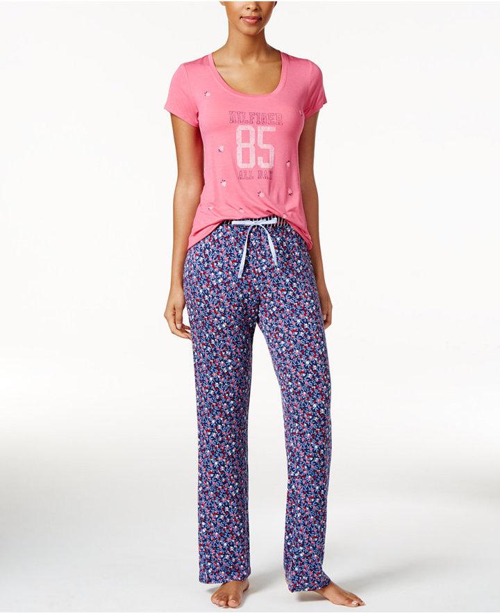 Tommy HilfigerTommy Hilfiger Graphic-Print T-Shirt and Printed Pants Knit Pajama Set