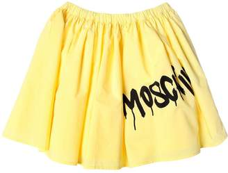 Moschino Logo Printed Cotton Poplin Skirt