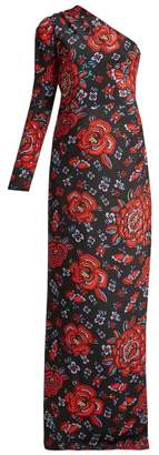 Rebecca De Ravenel Rose Print One Shoulder Silk Gown - Womens - Black Multi