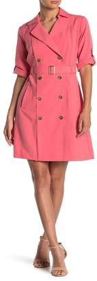 Sharagano Belted Double Breasted Trench Dress
