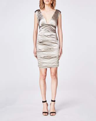 Nicole Miller Techno Metal Plunge Dress