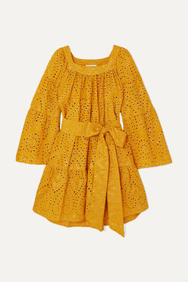 Lisa Marie Fernandez Tiered Broderie Anglaise Cotton Mini Dress - Saffron