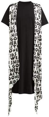 MM6 MAISON MARGIELA Graffiti Print Sash Cotton T Shirt Dress - Womens - Black