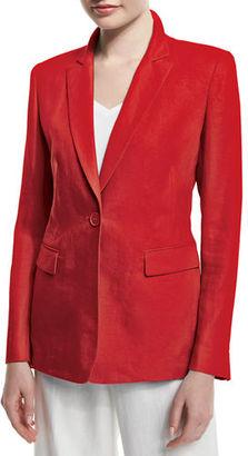 Lafayette 148 New York Mackenzie Lavish One-Button Linen Jacket $395 thestylecure.com