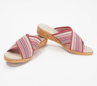 Charleston Shoe Co. Stretch Cross Strap Slide Sandals - Abby