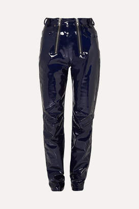 GmbH - Frey Zip-embellished Glossed-pu Tapered Pants - Navy