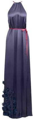 Anna Etter - Grissell Navy Blue Maxi Dress with Hand-Sewn 3D Flowers