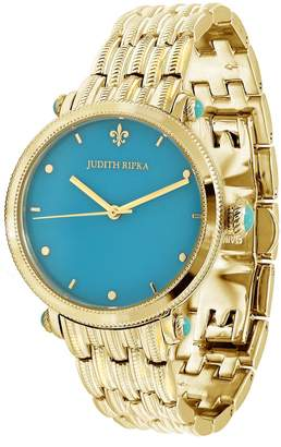 Judith Ripka Goldtone Stainless Turquoise LinkWatch