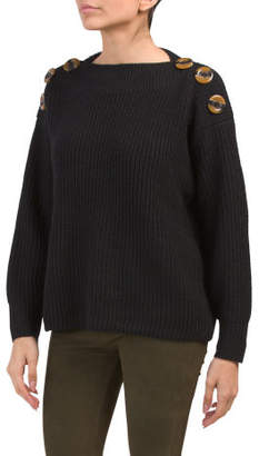Button Accent Pullover Sweater