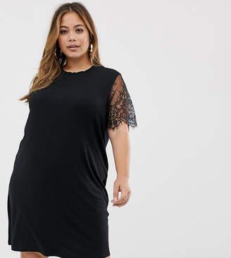 7819ceb6b3 Asos DESIGN Curve lace sleeve t-shirt dress