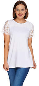 Isaac Mizrahi Live! Short Sleeve Knit Top withLace Yoke