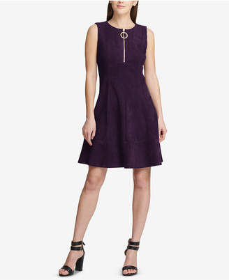 DKNY Faux-Suede Fit & Flare Dress