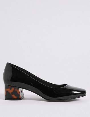 Marks and Spencer Wide Fit Block Heel Court Shoes
