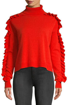 Cinq à Sept Savanna Ruffle-Trimmed Cashmere Sweater