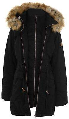 Soul Cal SoulCal Womens Double Layer Parka Jacket Coat Top High Neck Hooded Zip Warm Fur