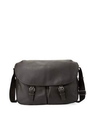 Giorgio Armani Men's Vitello Leather Messenger Bag