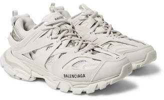 Balenciaga Track Nylon, Mesh And Rubber Sneakers - White