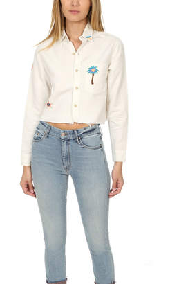 Mother Frenchie Crop Fray Shirt
