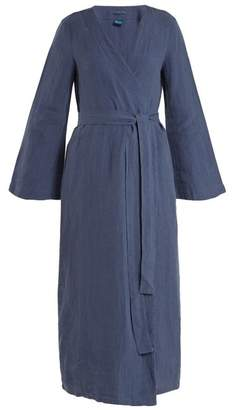 Once Milano - Bell Sleeved Linen Robe - Womens - Blue