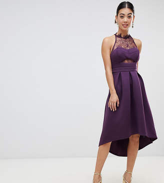 Asos Halter Lace Top Dip Back Prom Dress