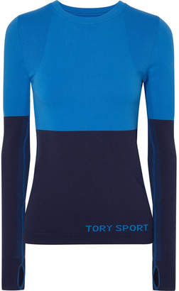 Tory Sport Two-tone Stretch-knit Top - Blue