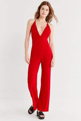 Urban Outfitters Plunging Crepe Jumpsuit