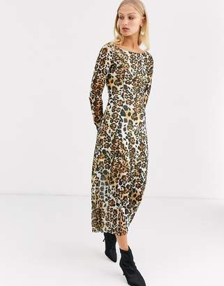 And other stories &  long sleeves jersey dress in leo print