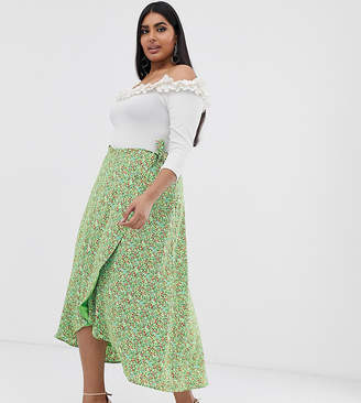 Fashion Union Plus wrap midi skirt in ditsy floral