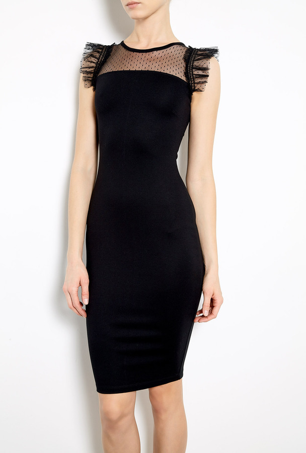 RED Valentino Tulle Neck Jersey Dress