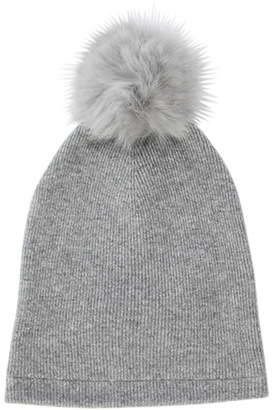 Minnie Rose Must Have Cashmere Fox Fur Pom Pom Beanie $114 thestylecure.com