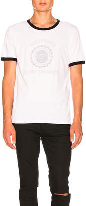 Saint Laurent Contrast Collar University Tee