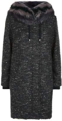 Lorena Antoniazzi Tweed Fox Fur Hood Coat