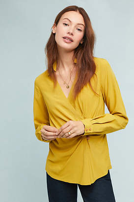 Maeve Collared Wrap Top