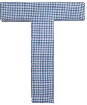 Viv + Rae Truss Blue Gingham Fabric Wall Plaque Letter: M