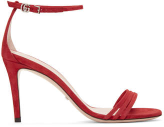 Gucci Red Suede Isle Heeled Sandals