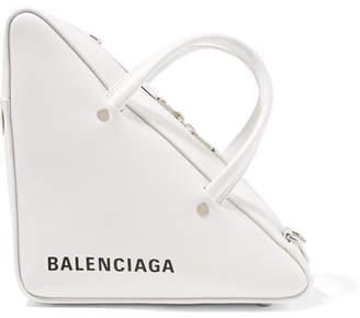 Balenciaga Triangle Duffle Printed Leather Tote - White