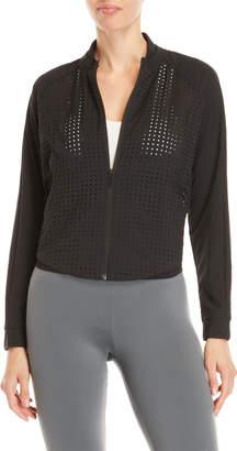adidas Black Perforated Quarter-Zip Bomber Jacket