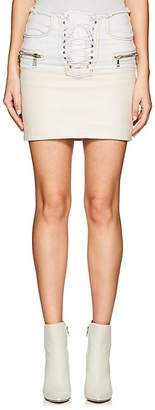 Taverniti So Ben Unravel Project Women's Lace-Up Denim & Leather Miniskirt