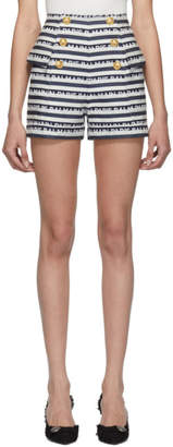 Balmain Navy and White Stripe Logo Button Shorts