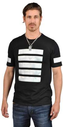 Forever 21 Forever21 21 Men with 5 White Front Stripes Crew Neck Short Sleeve Shirts