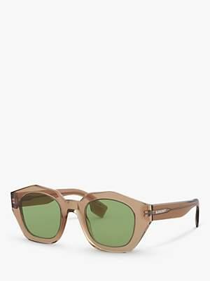 Burberry BE4288 Women's Irregular Sunglasses, Transparent Brown/Green