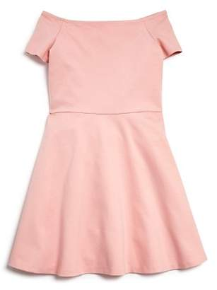 Aqua Girls' Ponte Off-the-Shoulder Skater Dress, Big Kid - 100% Exclusive