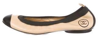 Chanel Leather Cap-Toe Flats