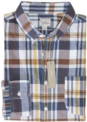 J.Crew J. Crew - Men's - Slim Fit - Navy/Brown/Yellow Plaid Madras Shirt