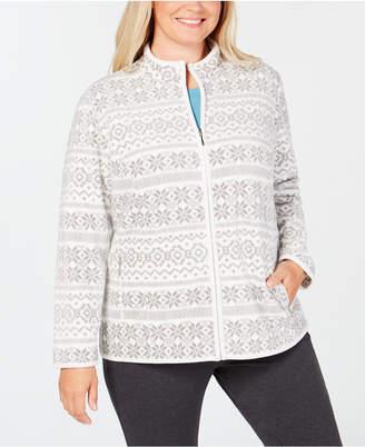 Karen Scott Plus Size Fair-Isle Stand-Collar Jacket, Created for Macy's