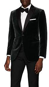 Brioni Men's Policleto Velvet One-Button Tuxedo Jacket - Green