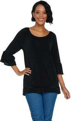 C. Wonder Stretch Peasant Blouse with 3/4 Flutter Sleeves