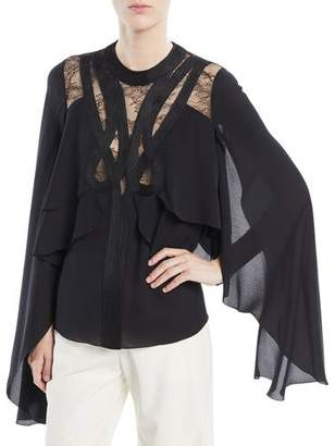 Elie Saab Cape Layered Top with Lace Inserts and Passementerie Trim