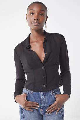 Urban Outfitters Leo Cropped Button-Down Shirt