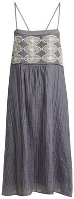 Thierry Colson Saskia Pintucked Cotton Blend Georgette Dress - Womens - Grey White